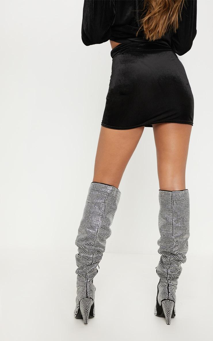 Black Ribbed Velvet Skirt  4