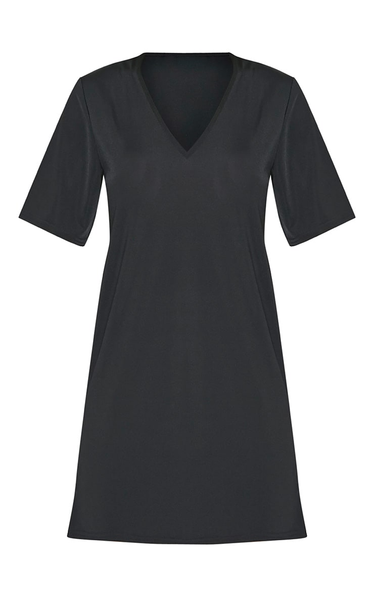 Nyla robe t-shirt col en V près du corps noire 3