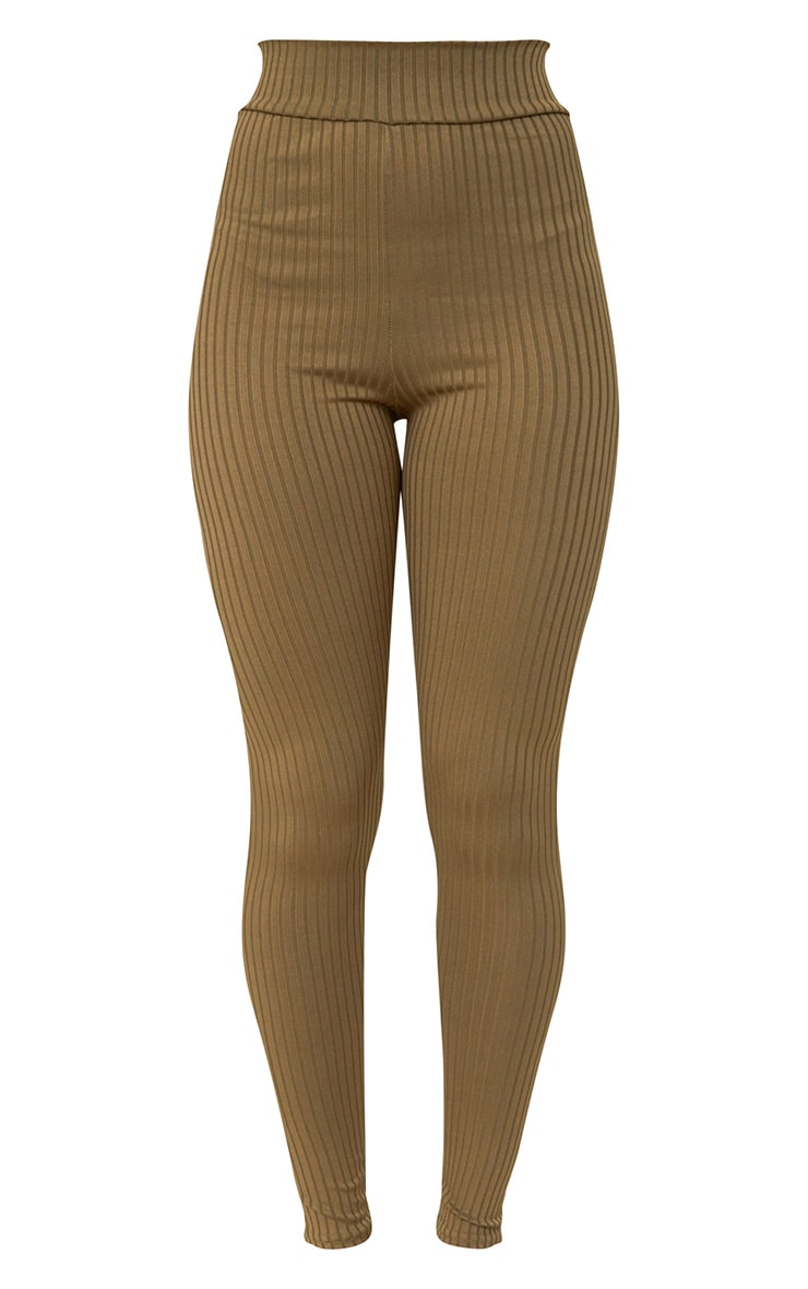 Harlie Khaki Ribbed High Waisted Leggings 3