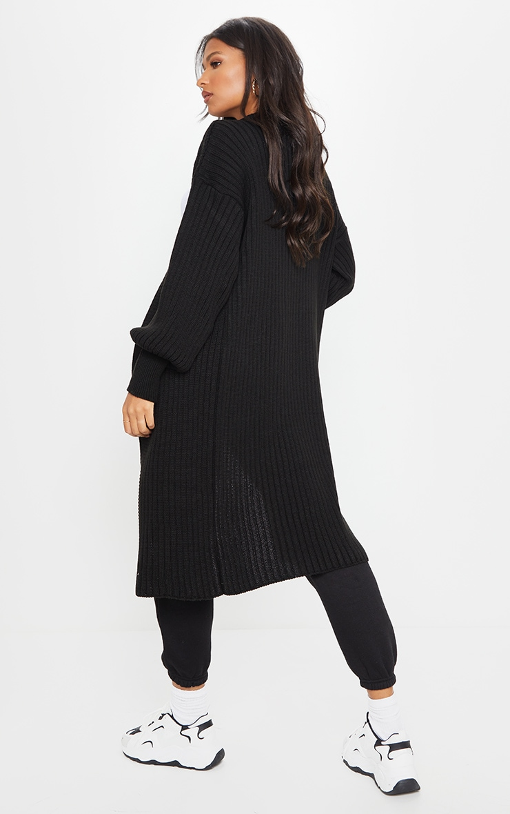 Black Ribbed Knitted Midi Cardigan 2
