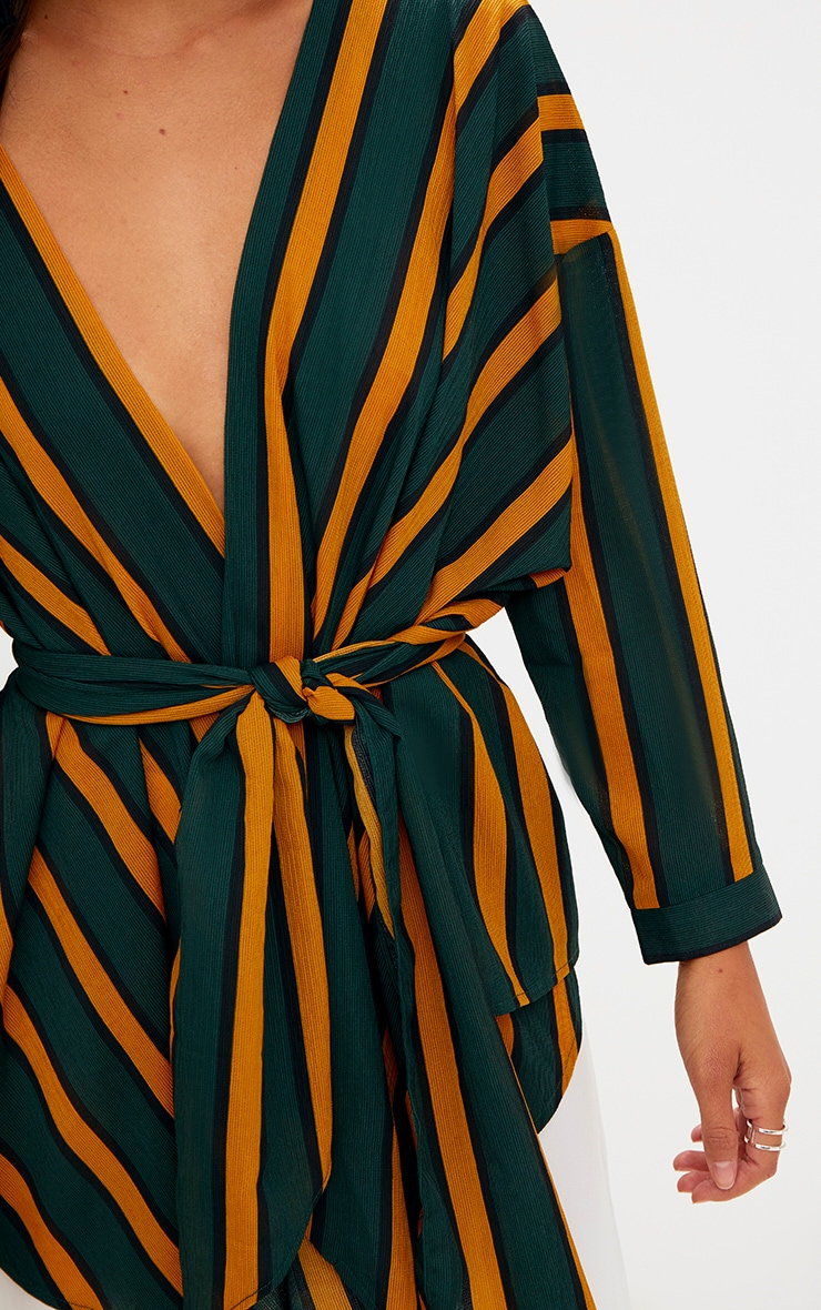 Green Bold Stripe Tie Waist Blouse 5