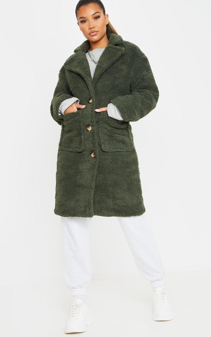 Khaki Borg Longline Coat 1