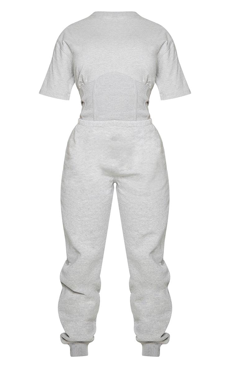 Shape Grey Corset Detail Short Sleeve Sweat Jumpsuit 5