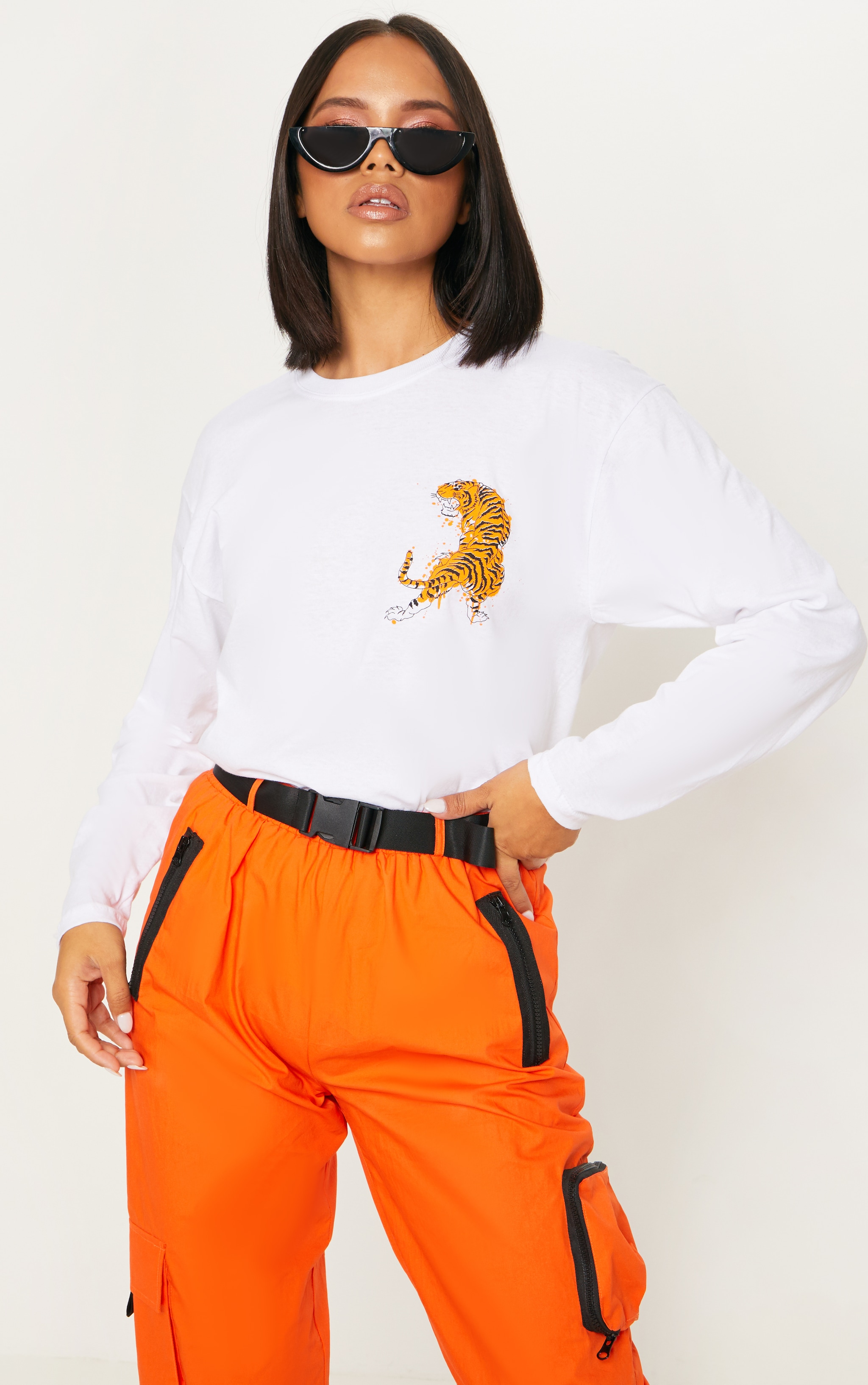 White Tiger Print Long Sleeve T shirt 1