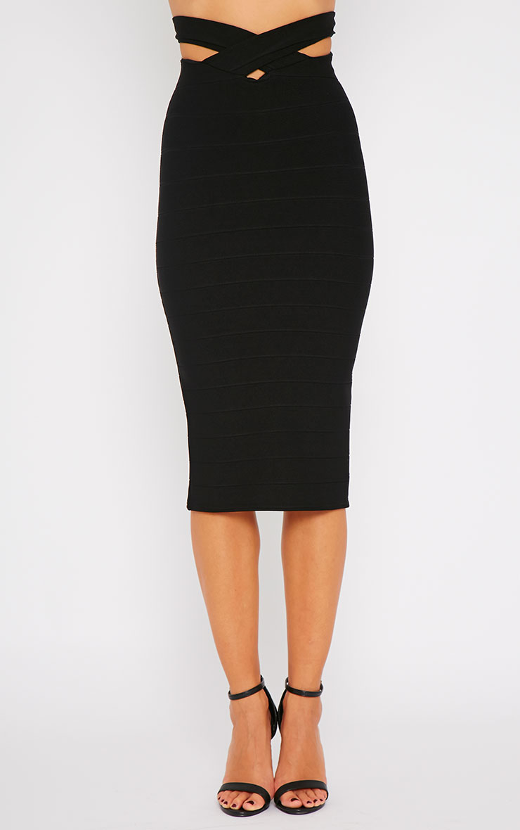 Jaimie Black Cut Out Bandage Midi Skirt 3