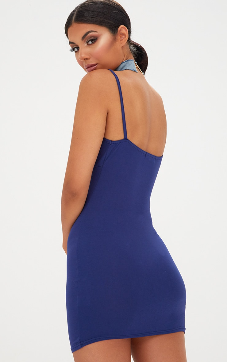 Navy Strap Detail Bodycon Dress 2