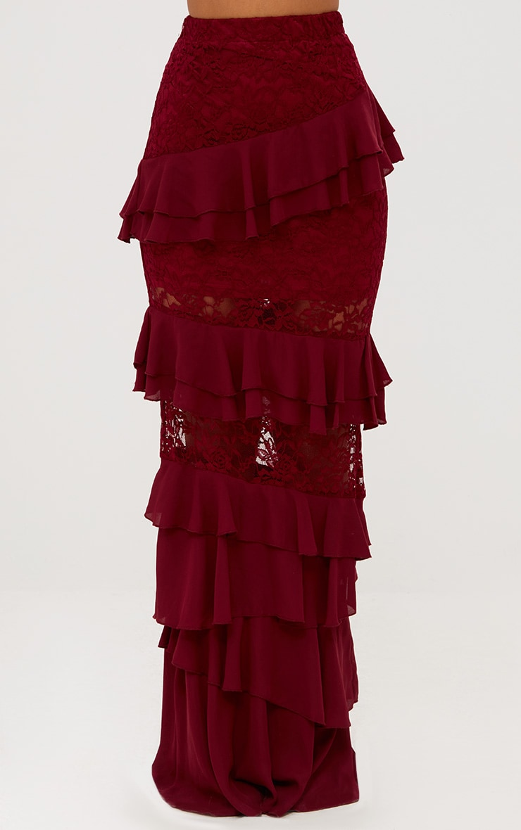 Burgundy Lace Frill Detail Maxi Skirt 3