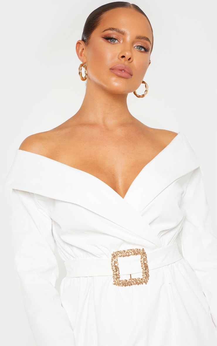 White Bardot Belt Detail Shift Dress 5