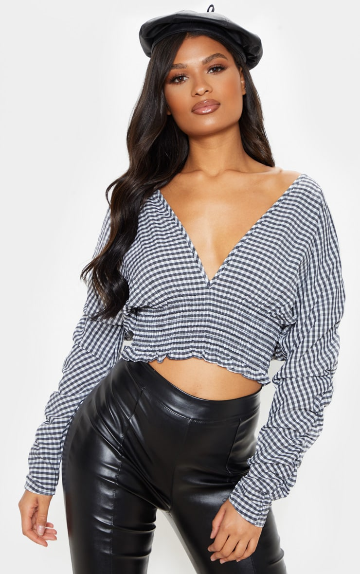 Black Printed Plunge Shirred Ruched Long Sleeve Top 4