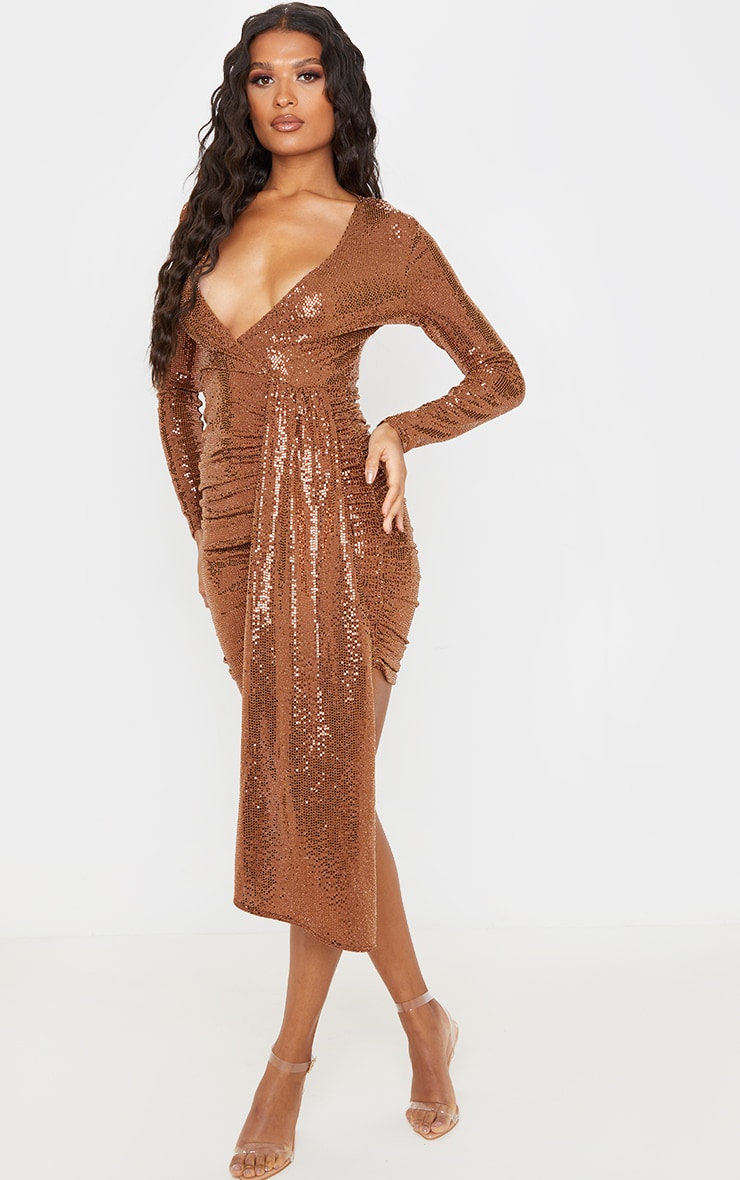 Bronze Sequin Plunge Bodycon Dress 4