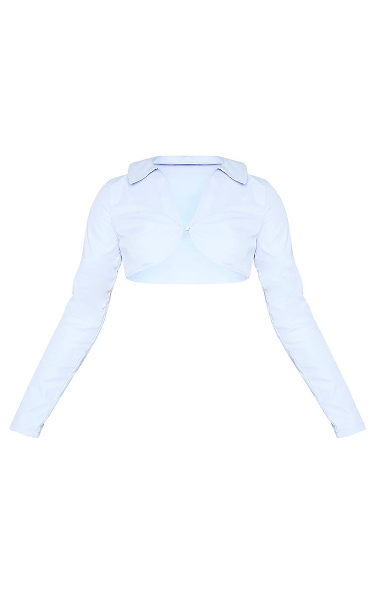 Blue Woven Collared Curved Underbust Cropped Shirt 5