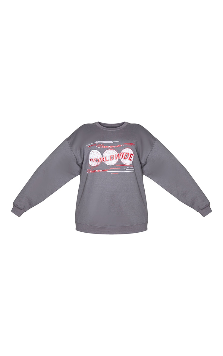 Plus Charcoal Worldwide Printed Sweatshirt 5