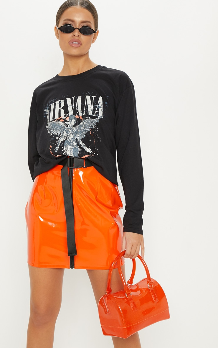 Black Nirvana Angel Print Oversized T shirt 5