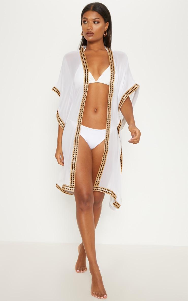 White & Gold Oversized Kimono