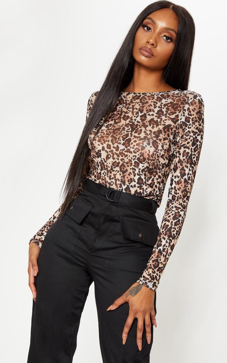 Brown Mesh Leopard Print Long Sleeve Top 1