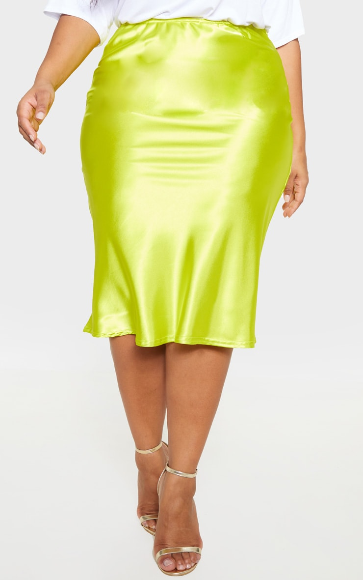 Plus Neon Lime Satin Midi Skirt 2