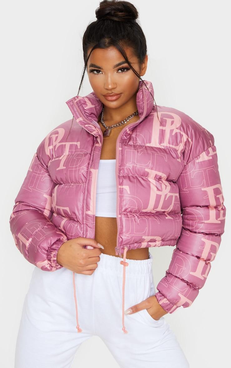 PRETTYLITTLETHING Pink Crop Puffer Jacket image 1