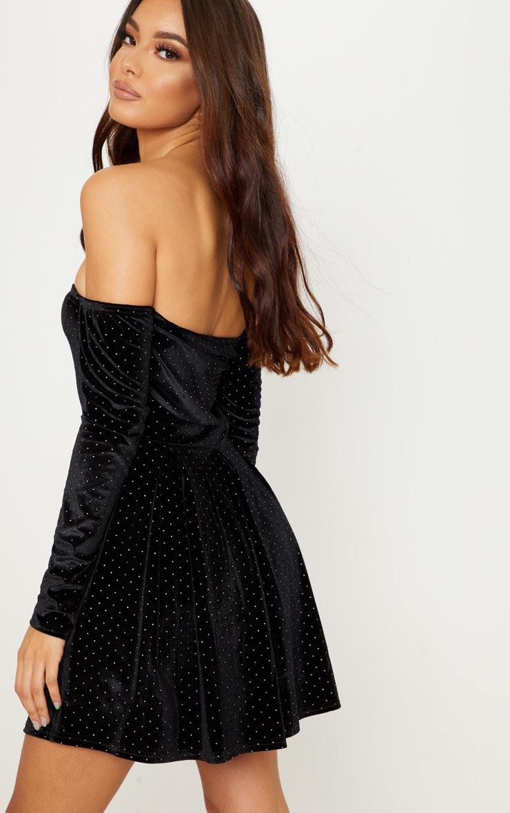 Black Velvet Studded Bardot Skater Dress 2