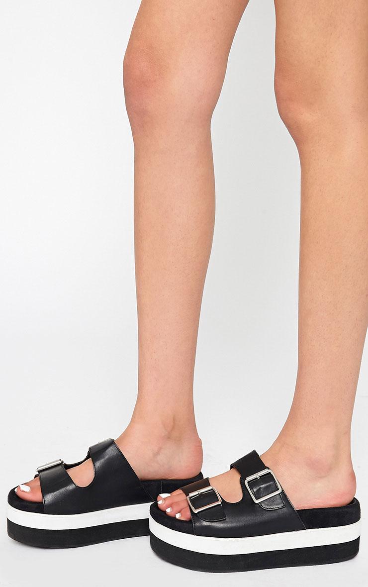 Cody Black Buckle Flatform Sandals 2