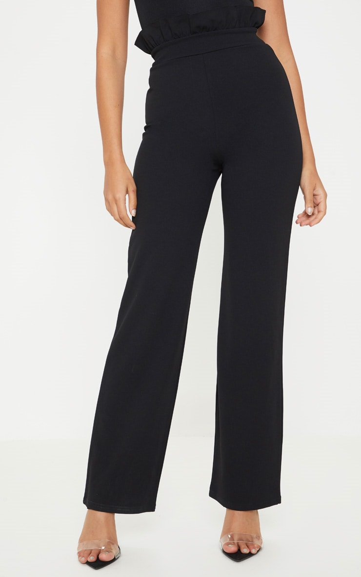 Petite Black Frill High Waist Trousers 2