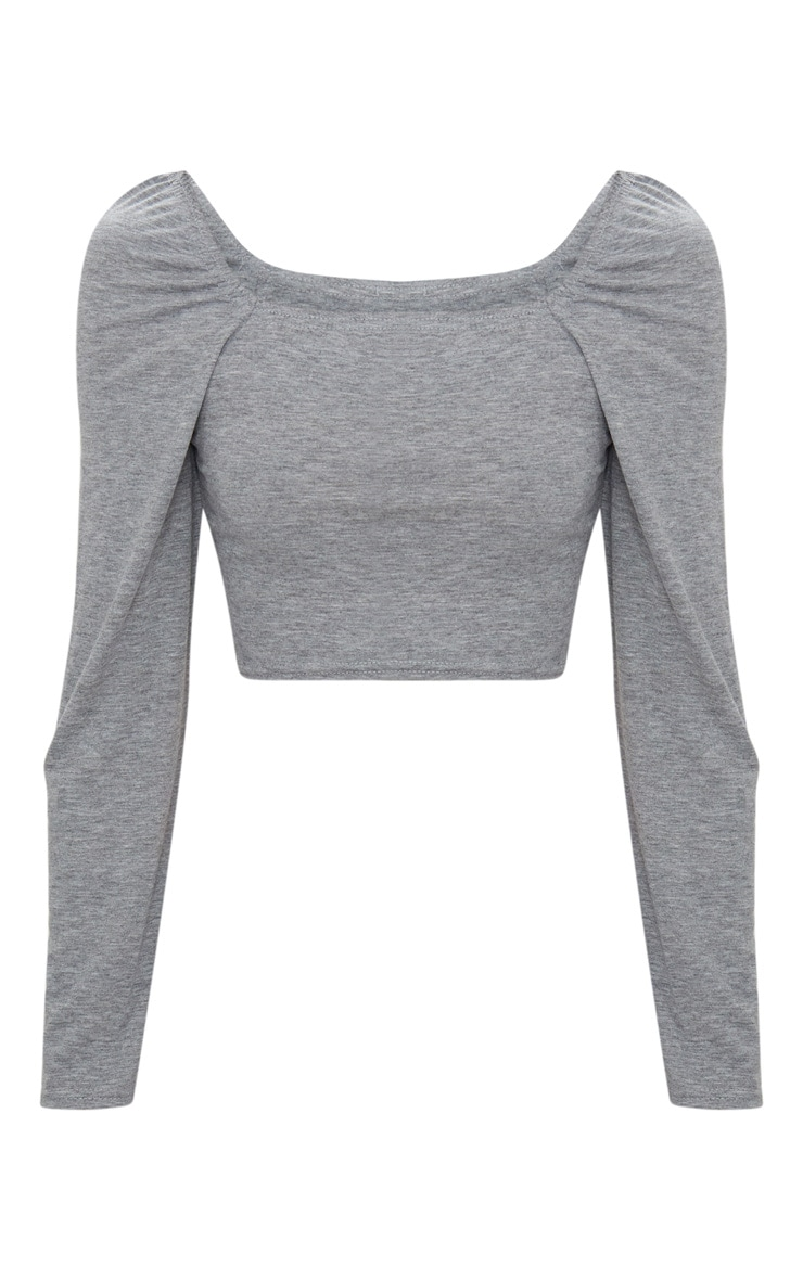 Basic Grey Marl Jersey Square Neck Long Sleeve Crop Top  3