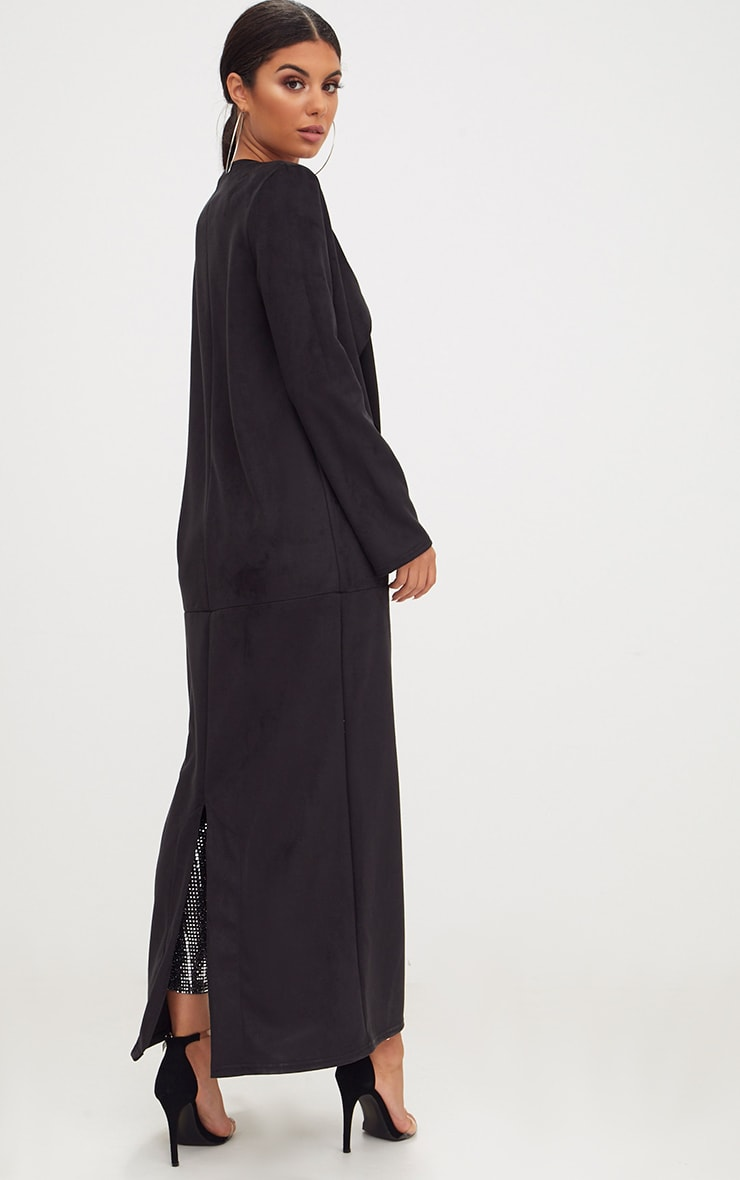 Black Faux Suede Maxi Waterfall Coat 2