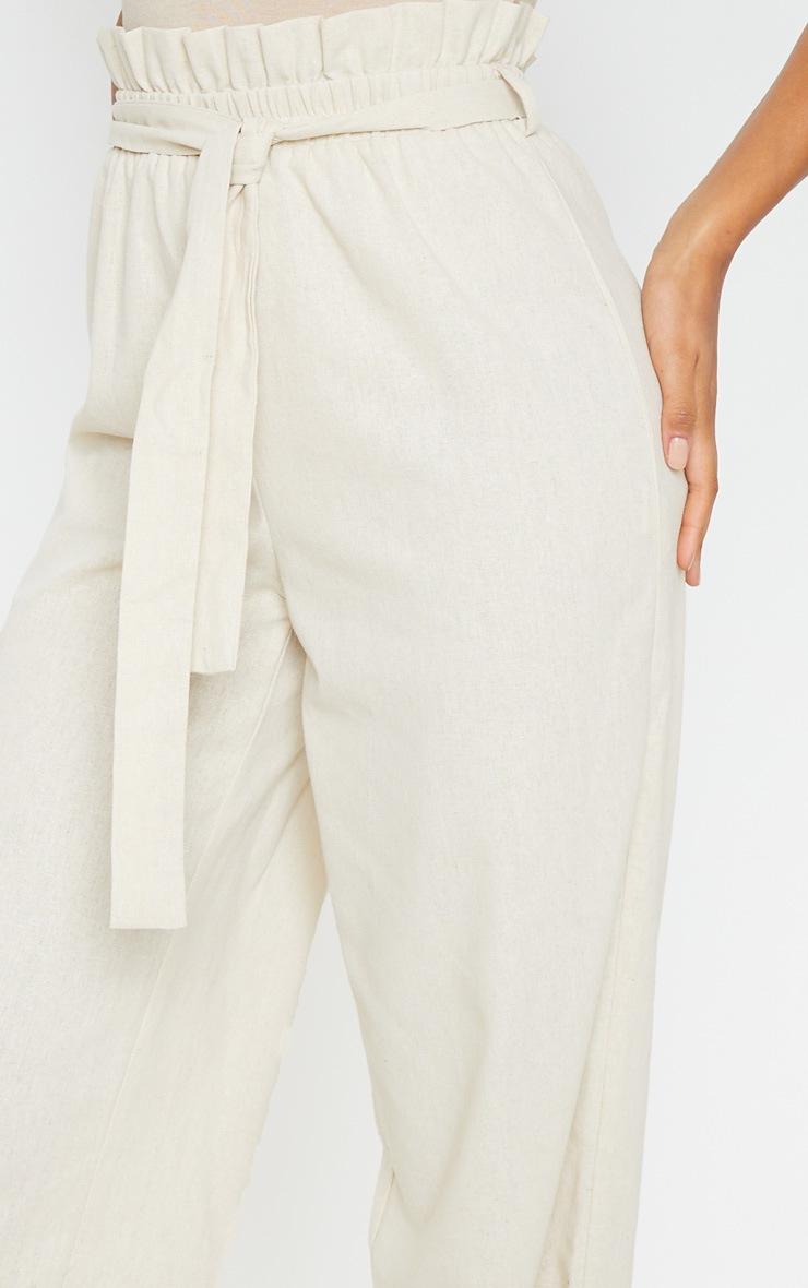 Pantalon paperbag effet lin gris pierre à taille froncée 5