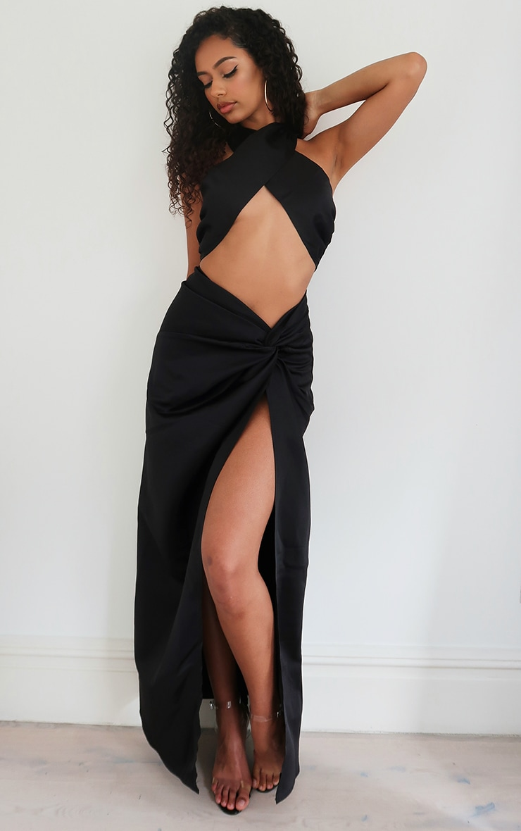 Black Satin Woven Dip Hem Split Leg Maxi Skirt