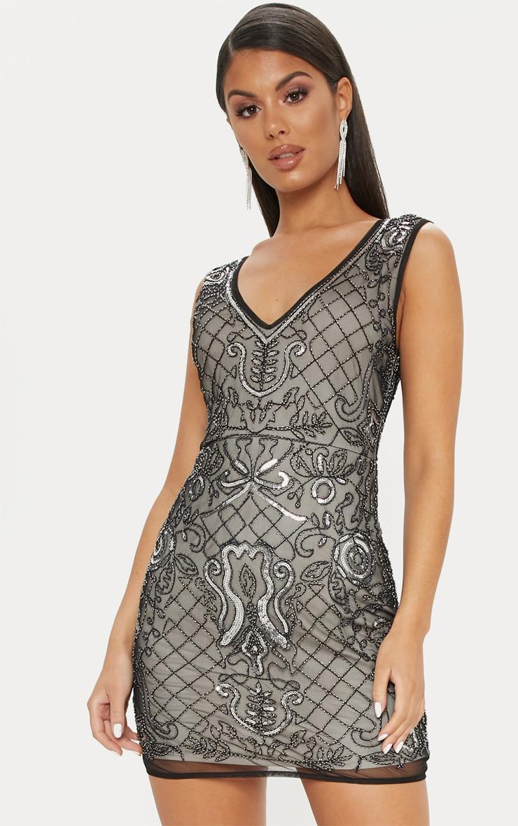 Black Sequin Nude Embellished Plunge Bodycon Dress 1