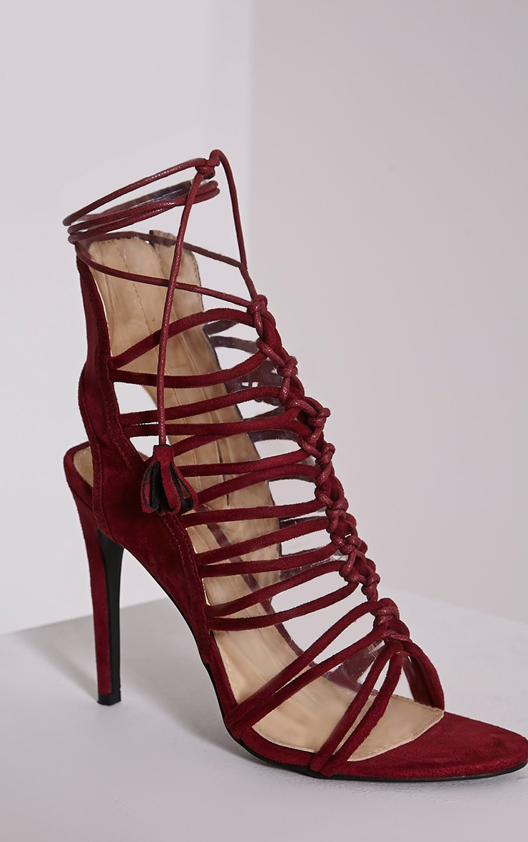Angelina Bordeaux Strappy Detail Heeled Shoes 5