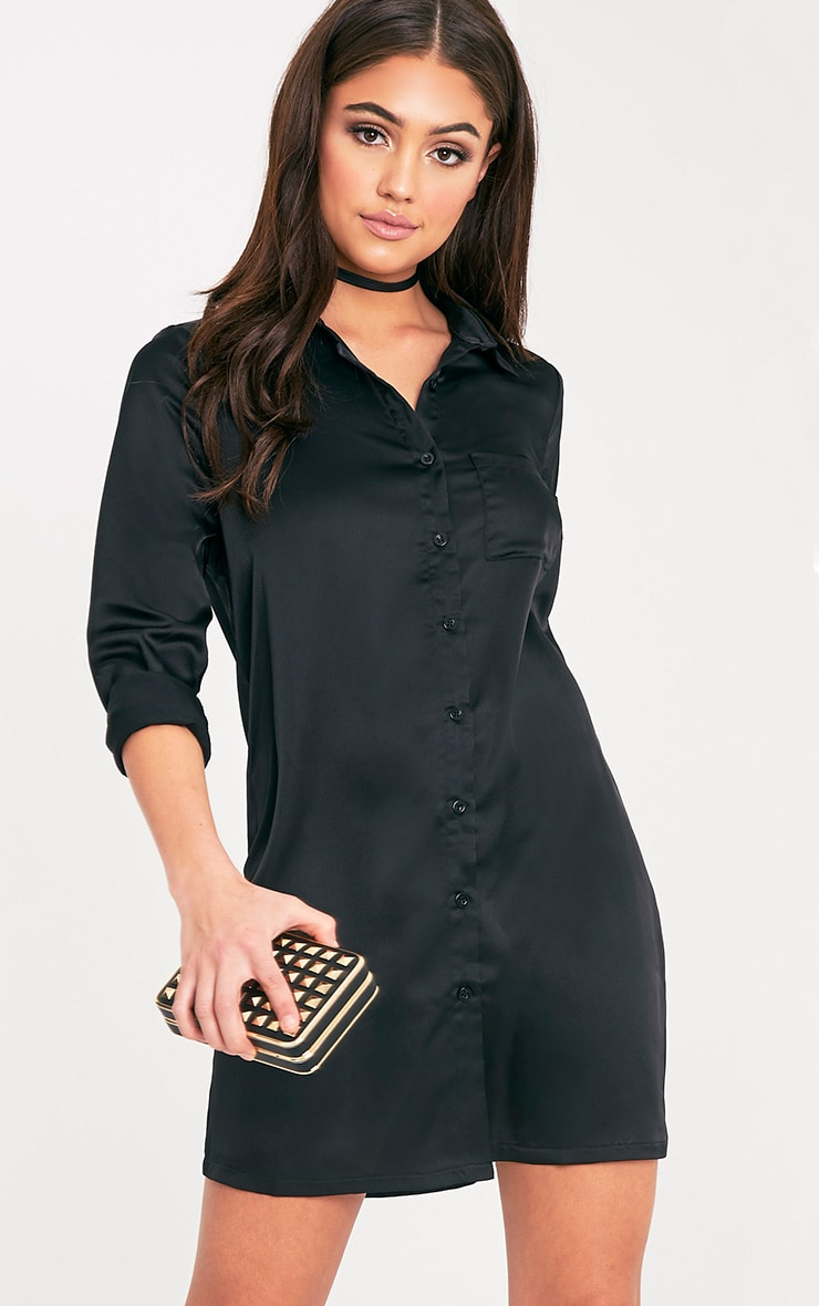 Layla Black Satin Shirt Dress 1