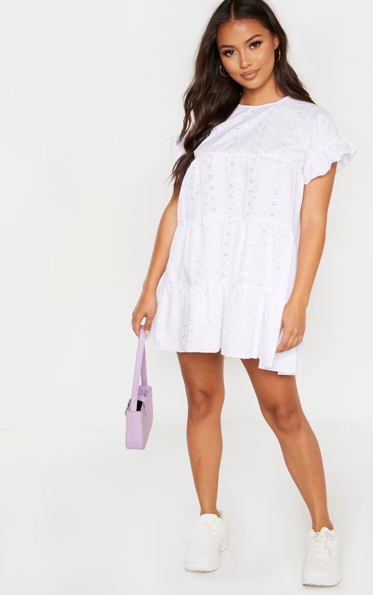 Petite White Broderie Anglaise Smock Dress 4