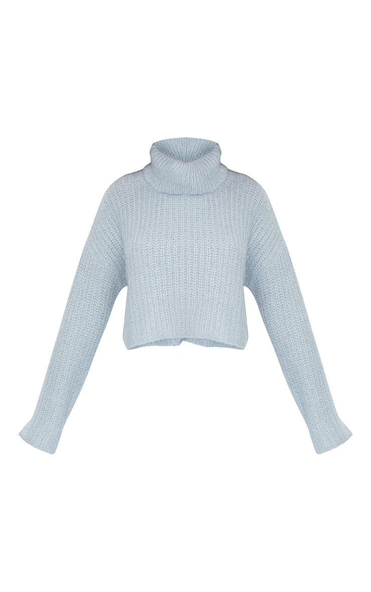 Blue Fluffy Roll Neck Slouchy Sweater 5