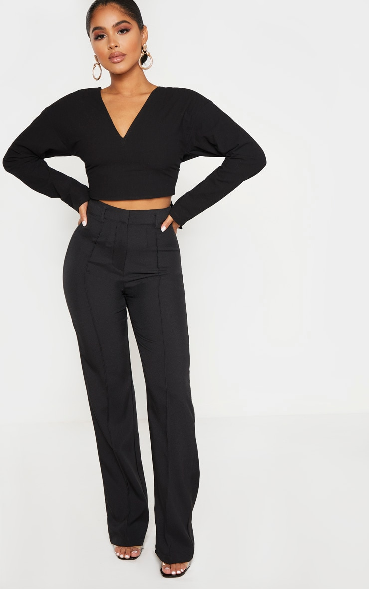 Petite Black Tie Back Cropped Blouse 4