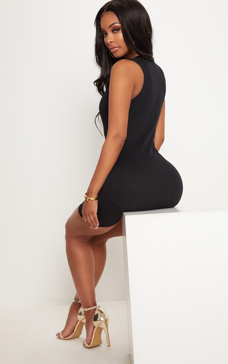 Shape Black Bandage Plunge Bodycon Dress 2