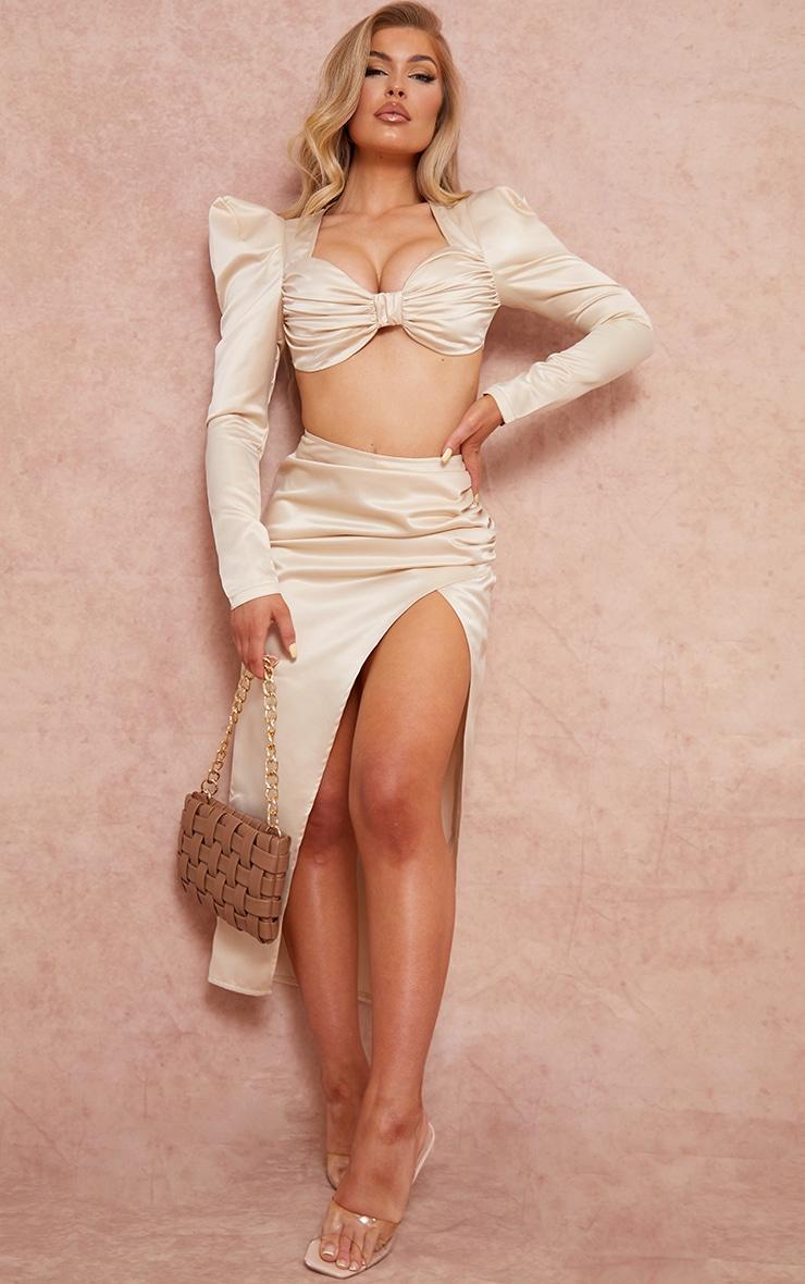Cream Woven Structured Satin Ruched Split Side Leg Midi Skirt 1