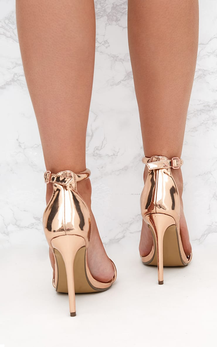 Rose Gold Pointed Toe Strappy Heels 3