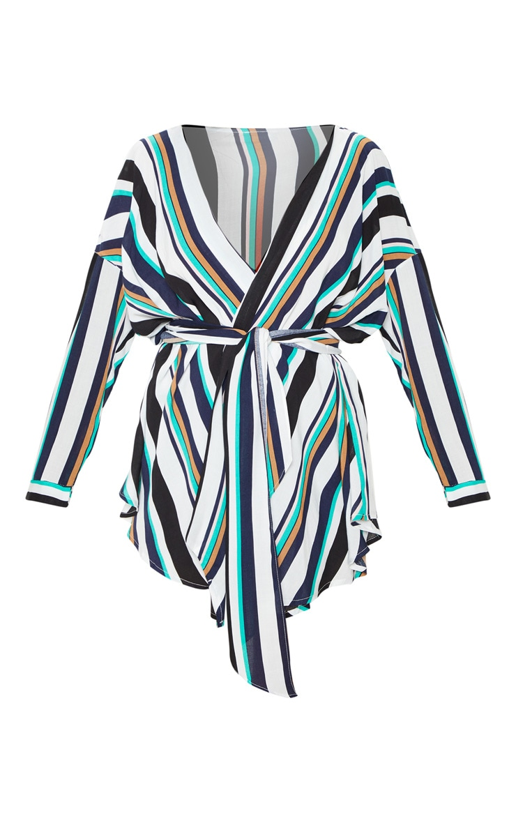 Navy Bold Stripe Tie Waist Blouse 3