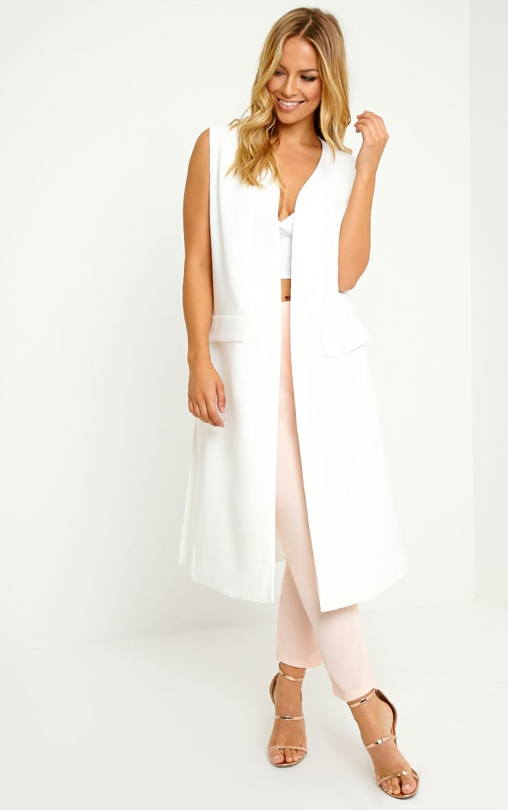 Vari White Long Line Sleeveless Tailored Blazer 1