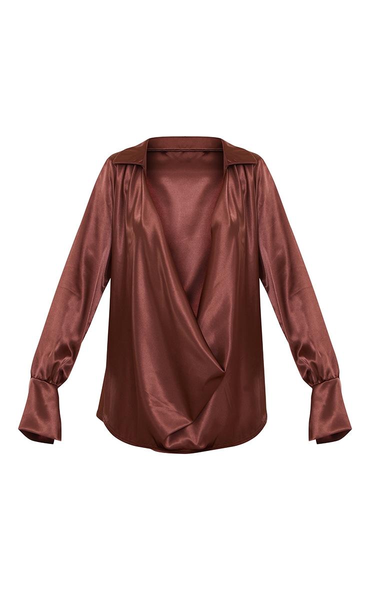Chocolate Extreme Cowl Long Line Satin Shirt 5