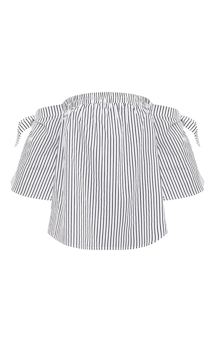 White Stripe Bardot Tie Sleeve Shirt 3