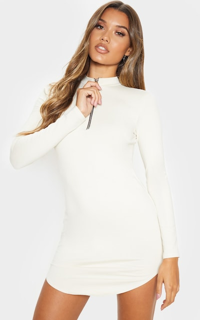 Ecru Zip Front Long Sleeve Curved Hem Bodycon Dress