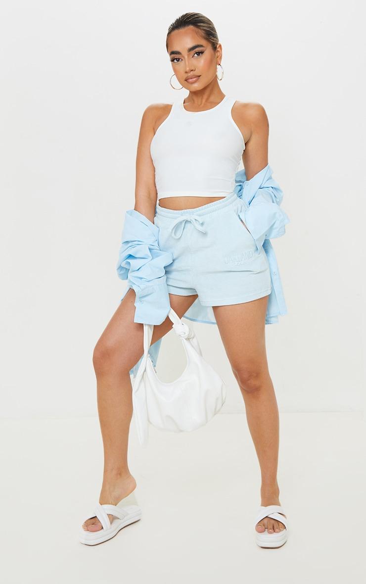 Petite Blue Velour Oakland Shorts 1