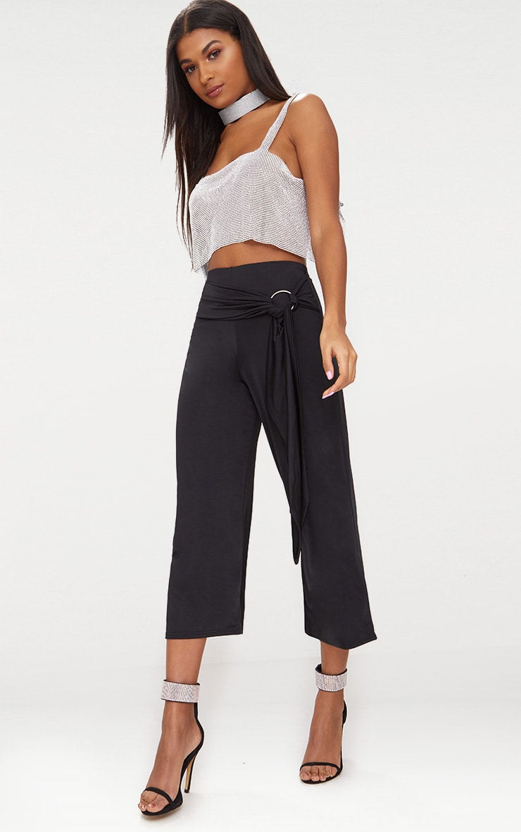 Black Slinky O Ring Belted Culottes 1