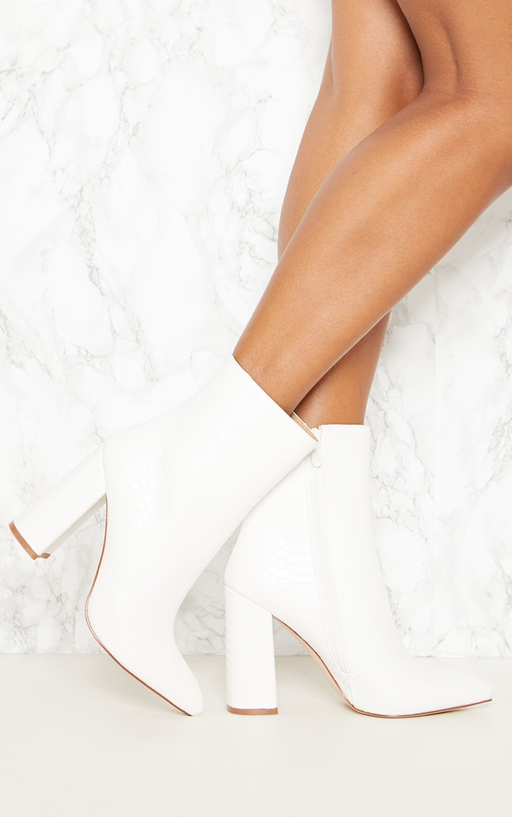 White Faux Snake Ankle Boot