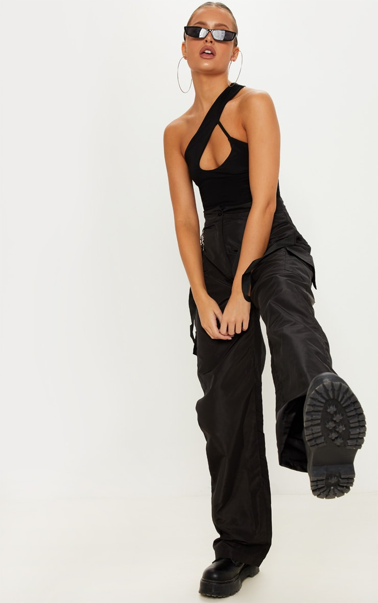 Black One Shoulder Cut Out Bodysuit 5