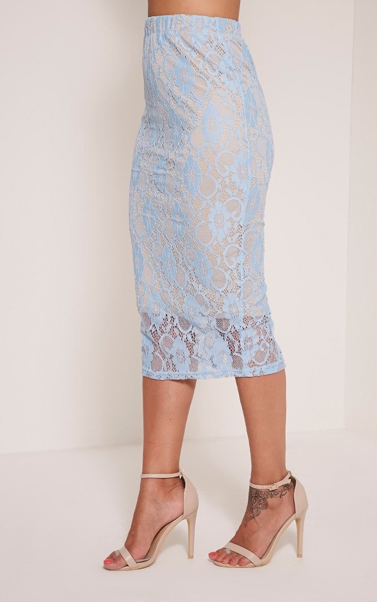 Anura Powder Blue Lace Midi Skirt 4