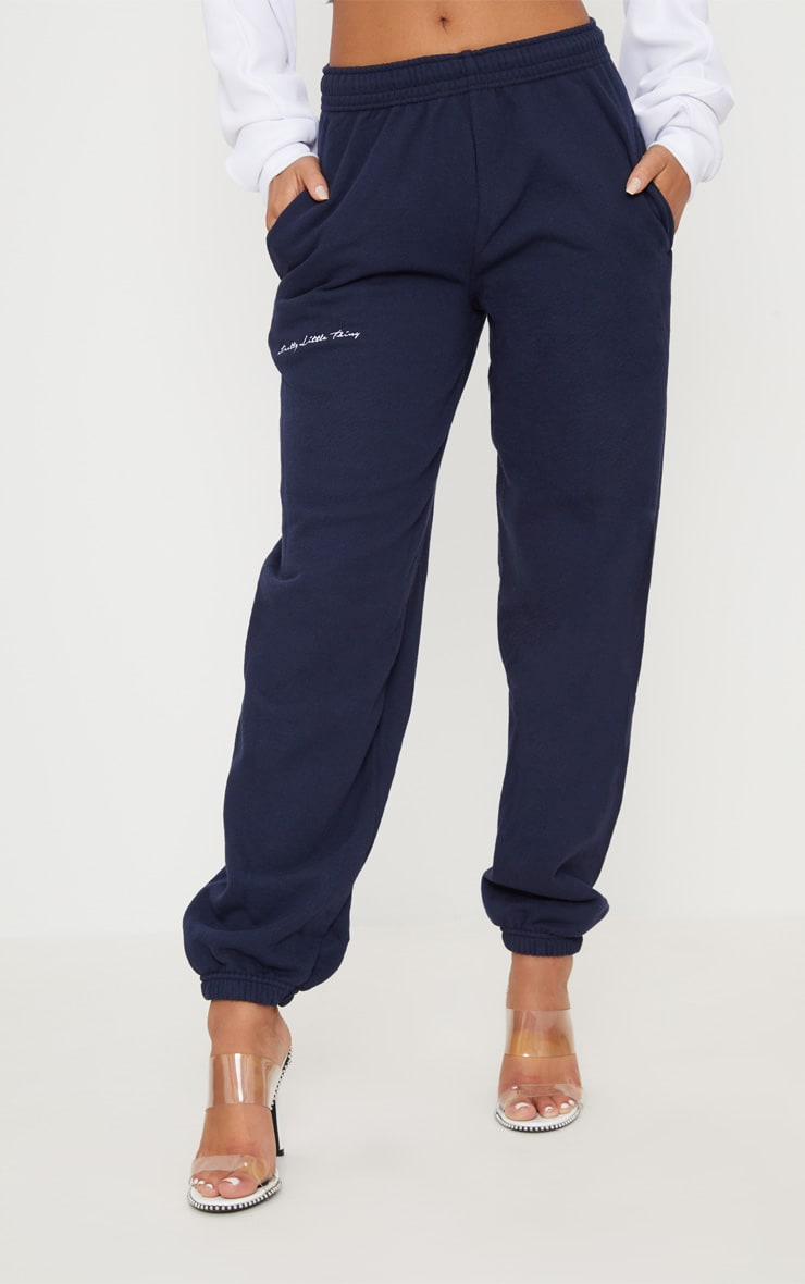 PRETTYLITTLETHING Navy Embroidered Jogger 2