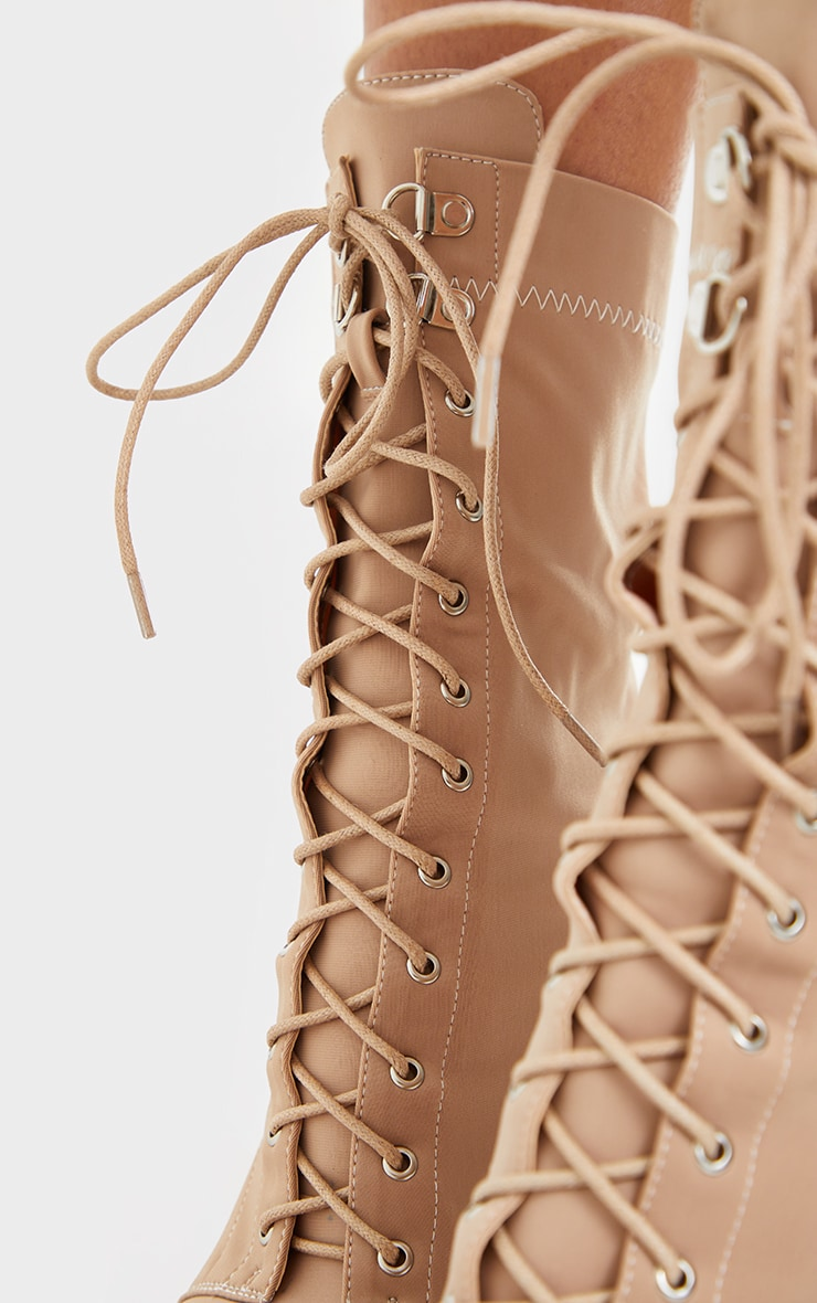 Beige Lycra Lace Up Pointed Toe Sock Boots 4