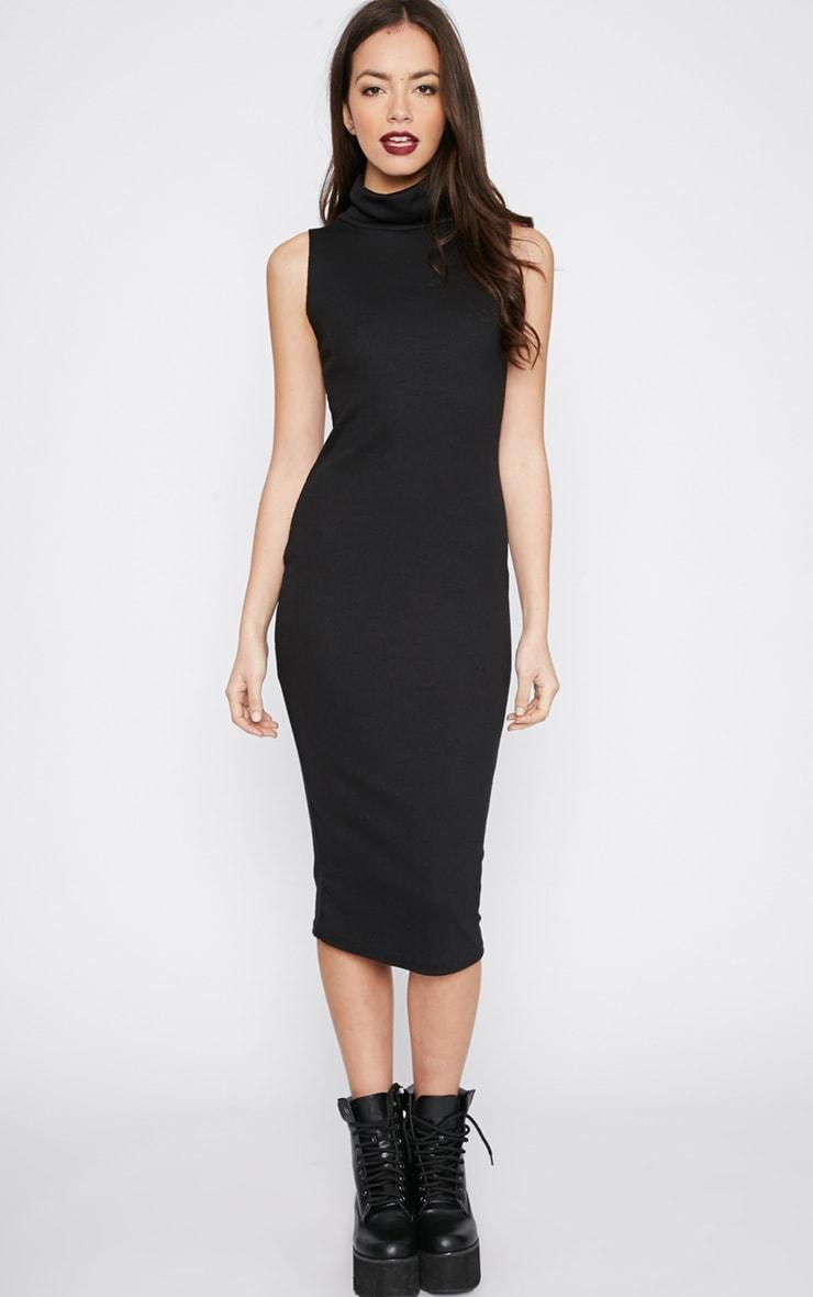Nava Black Roll Neck Ribbed Jersey Midi Dress 3